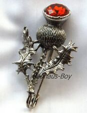 SOLID PEWTER KILT PIN HIGHLAND THISTLE FAUX CAIRNGORM SET STONE by MIRACLE KILTS