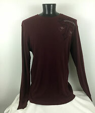 Men's AFFLICTION Burgundy Thermal Shirt  Long Sleeve Skull & Wings sz XL