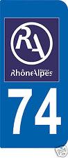 2 STICKERS RA 74 style PLAQUE D'IMMATRICULATION Département Région Rhône Alpes