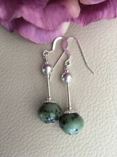 Sterling Silver Natural Genuine Green Turquoise 1920's Art Dec Inspired Earrings