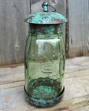 Rustic Vtg Style French Country Chic Primitive Mason Jar Lantern Candle Holder
