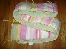 POTTERY BARN KIDS BUMPER PINK WHITE YELLOW GREEN STRIPES NURSERY 100% COTTON