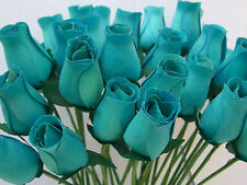 100 WHOLESALE TURQUOISE DUCK EGG BLUE WOODEN ROSES ARTIFICIAL FLOWERS WEDDINGS