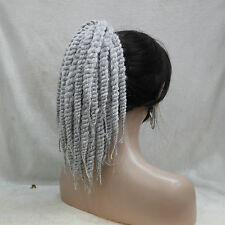 Afro Kinky Curly Weave Ponytail Hairstyles Gray Clip On extensions In Ponytail