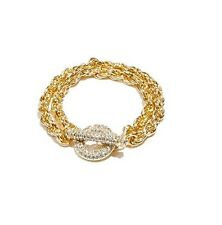 NEW-GUESS GOLD TONE PAVE DOUBLE CHAIN LINK, TOGGLE RHINESTONE CLASP BRACELET