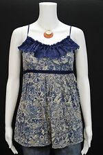 Kimchi Blue Misses SMALL Blue Ivory Floral Ribbon Trim Tie Back Tank Top Shirt
