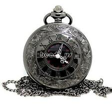 Orologio da tasca Vintage Bronzo Nero Steampunk Quarzo Collana Pocket Watch HOT