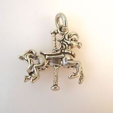 .925 Sterling Silver CAROUSEL HORSE Charm NEW Merry-go-Round Pendant 925 HS14
