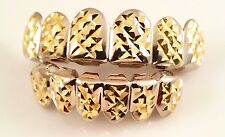 Hip Hop Bling Diamond Cut Silver and 14k Gold Plated 6pc Top and Bottom Grillz
