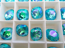 4 Lt Turquoise Glacier Blue Swarovski Crystal Square Cushion Cut Stone 4470 12mm