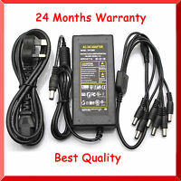 12V DC 7A Power Supply Adapter +8 Split Power Cable for CCTV Security Camera DVR