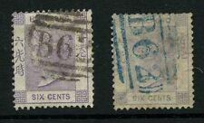 HONG KONG QV 1863 6c CROWN CC...B62 in BLACK + BLUE