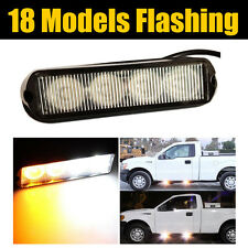 4 LED Car Truck Amber / White Light Dash Grille Emergency Hazard Strobe Warning
