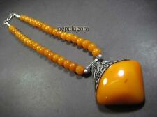 N4605 TIBETAN honey amber color Resin chunky beads tribal gypsy FASHION NECKLACE