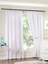 "Pair of 46'' x 72"" White Fully Lined Voile Pencil Pleat 3'' Tape Top Curtains"