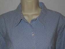 Sonoma Blouse XL Gingham Top Womens 20 Stretch Shirt Plaid Blue Gray White 6p99