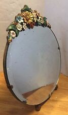 Antique Barbola Free Standing  Easel Backed Mirror  Beveled mirror