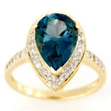5.00CT Huge Natural London Blue Topaz & 30 Diamond 9K Gold Ring Luxury Jewellery