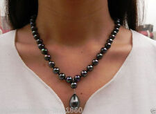 "Fashion Women's 8mm Black South Sea Shell Pearl Drop Pendant Necklace 18"" AAA+"