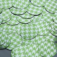 Round Sequin 30mm Lime Green Silver Houndstooth Pattern Metallic