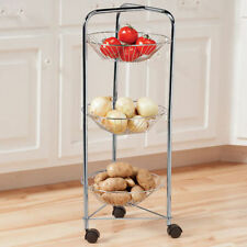 3 Tier Round Chrome Vegetable Fruit Cart Trolley Storage Rack Basket Stand New