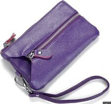 Genuine Leather Clutch Evening Wristlet Bag Wallet Purse Key Chain for cellphone