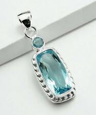 ART DECO BLUE TOPAZ STONE 925 STERLING SILVER DROP NECKLACE PENDANT Size 1 7/8""