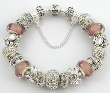 NEW Authentic PANDORA Barrel Bracelet with European Charms & MAUVE Murano Beads