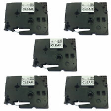 5 x Brother Compatible TZ-131 P-Touch 12mm BLACK/CLEAR Label Tape Cartridge