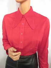 NEW OLD STOCK VINTAGE HUGE 1970s COLLAR LONG SLEEVE STRETCH RED SHIRT MOD 18 20