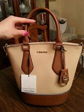Calvin Klein Modena genuine saffiano leather bucket handbag