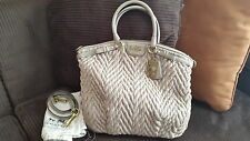 Coach 70th Anniversary 18634 Khaki Madison Quilted Chevron Nylon Lindsey/Large