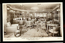 RMS Queen Elizabeth Photo Postcard - Cabin Smoking Room - Cunard Line