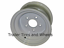 10x6 5 Lug White Steel Trailer Wheel for use with 20.5x8.0-10 or 205/65-10 tires