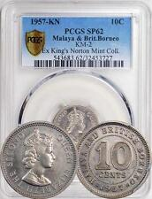 Malaya & British Borneo 1957-KN 10 Cents PCGS SP-62 - Extremely Rare Proof