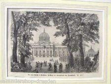 B1010 Holzstich Passepartout Der neue Palast in Potsdam Residenz des Kronprinzen