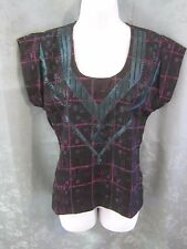 ecote Blouse Size XS NWT Southwestern Embroidery on Plaid