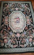 4' X 6' Vintage Hand Woven Beige Black Aubusson Design Wool Needlepoint Rug