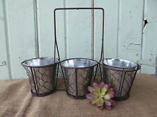 Vintage Inspired Chicken Wire 3 Basket Caddy Galvanized Tin Vases Utensil Holder