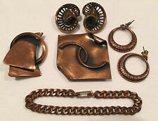 Lot of Copper Jewelry - Two sets of Earrings, Two Brooches and a Chain Bracelet
