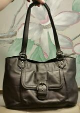 EUC COACH Campbell Hematite Gray Leather Belle Carryall Tote Shoulder Bad  24961