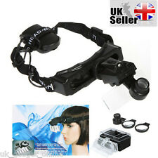 Watch Repair Jeweler 8 Lens Headband Head Strap Magnifier Loupe with LED Light