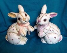 Pair Of Geo. Z. Lefton Hand Painted Ceramic Bunny Rabbits1987 Very Rare