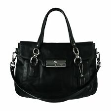 COACH 18277 Kristin Large Leather Flap Satchel Bag in Black & SIlver