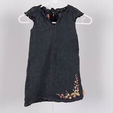 MINIMAN IL ETAIT UNE FEE Girls Sz 3T FLORAL RIBBON DENIM DRESS