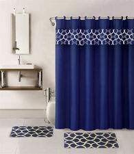 15PC NAVY #2 GEOMETRIC BATHROOM SET 2 BATH MATS 1 SHOWER CURTAIN &FABRIC HOOKS