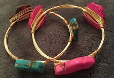 Neon Pink Bright Turquoise Gold Wire Stone Bangle Bracelet Set