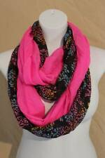 US Seller NEW Womens 2 Infinity Scarves Fashion Loop Scarf Pink Black Multi Cowl
