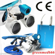 Dental Surgical Medical Binocular Loupes 3.5X 420mm Glass +LED Head light CE FDA
