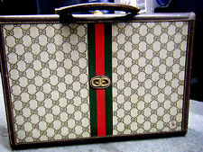 "Vintage Gucci Monogram Hard Sided Brass Lock Briefcase  ITALY 16.5"" X 12.5"" X 3"""